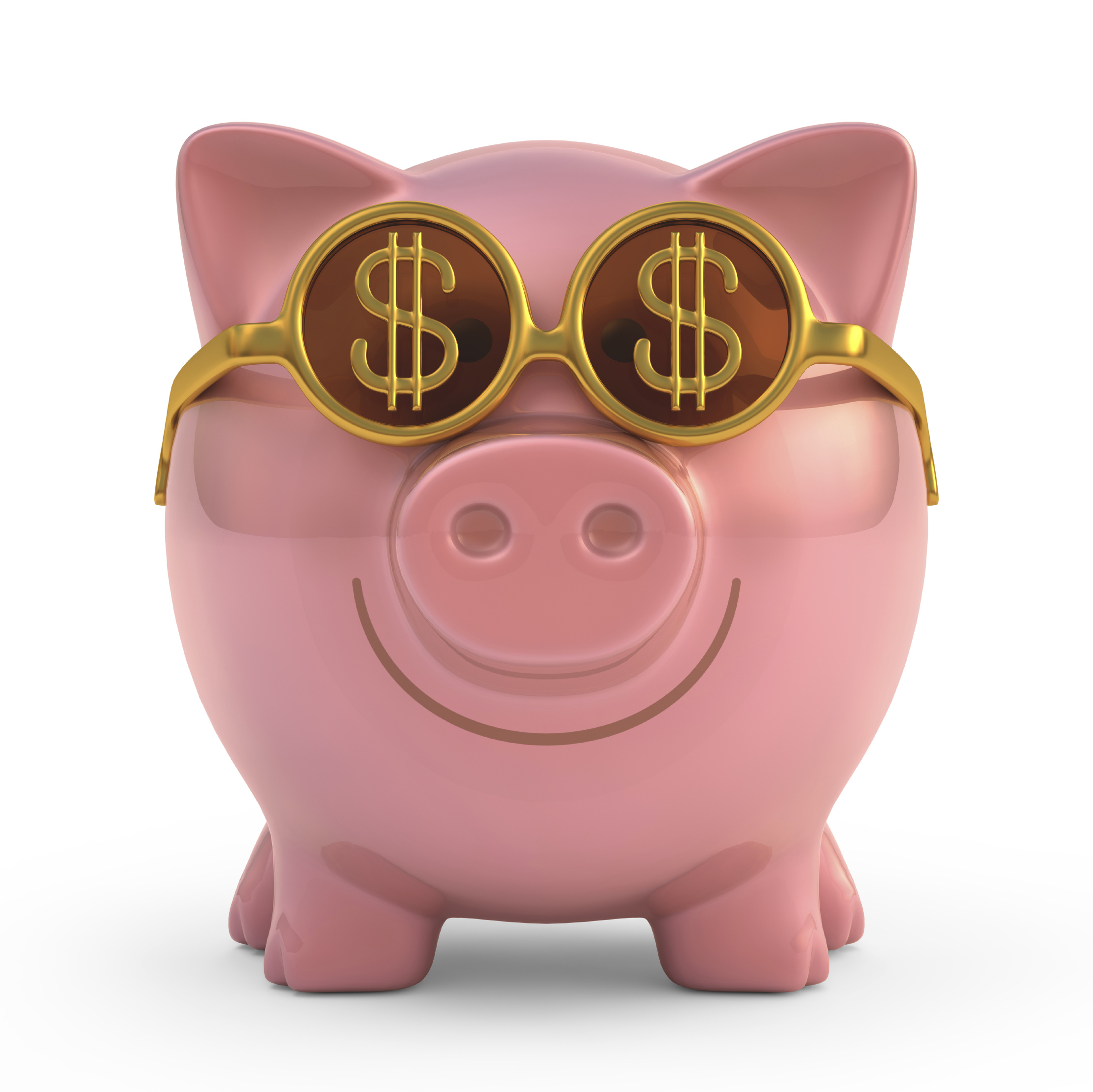 Piggy bank wearing sunglasses with money sign. Clipping path included.